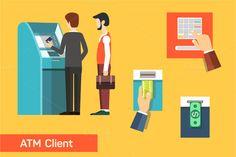 ATM machine money deposit by VectorMarket on Creative Market