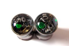 Unique Steampunk Vintage Watch Parts Ear Plugs / by Jamlincrow, £20.00