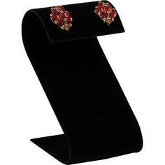 """NEW Black Velvet """"S"""" Earring Stand Jewelry Display ! X 2 X 3 S shaped earring display stand. S shaped. Black Earrings, Stud Earrings, Earring Display Stands, Jewelry Stand, Jewellery Display, Jewelry Branding, Black Velvet, Fashion Brands, Accessories"""