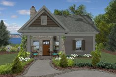 House Plan 036-00261 - Small Plan: 514 Square Feet, 1 Bedroom, 1 Bathroom Small Cottage House Plans, Small Cottage Homes, Small Cottages, Cottage Plan, Tiny Homes, Small Lake Houses, Cute Small Houses, Small Cabins, Beach Houses