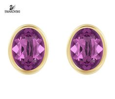 Swarovski Purple Crystal Pierced Studs Earrings LASER Yellow Gold #5101254