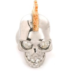 Alexander McQueen Mohican Skull Cocktail Ring ($274) ❤ liked on Polyvore featuring jewelry, rings, metallic, alexander mcqueen jewelry, alexander mcqueen, skull jewellery, metallic jewelry and statement rings
