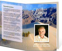 Funeral Program Examples: Sandy Single Fold Memorial Service Programs Template