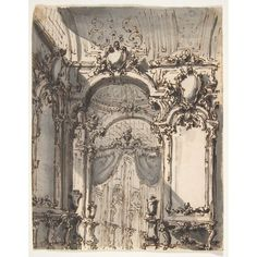 """Design for a Stage Set Interior of a Palazzo Decorated with Large Mirrors and Console Tables Poster Print by Giovanni Battista Natali III (Italian Pontremoli Tuscany 1698  """"1765 Naples) (18 x 24) #italianinteriordesign"""