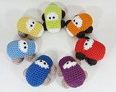 Crochet toy baby rattles set of seven cars - organic cotton - rainbow set