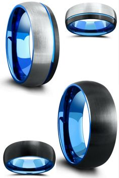 I love both of these mens tungsten wedding bands. Both have a brushed textured top and dome profile. I love the ocean blue interior.