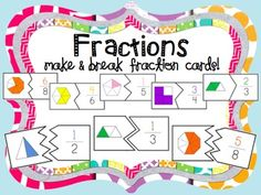This hands-on and engaging activity will help your students learn their fractions in no time! Included are six sets of cards for eighths, sixths, fifths, fourths, thirds and halves. The unique puzzle cards allow for self correction! Included are 2 files for large fraction cards and small fractions cards