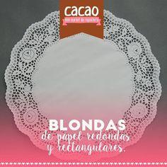 blondas redondas y rectangulares, se usan en la base de la torta de manera decorativa y son muy románticas por su acabado.