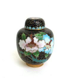 petite vintage chinese cloisonne lidded ginger jar vase