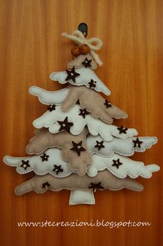 Christmas Tree Wall Décor - Felt, Fabric {Site in Italian so, Crafters, you'll need a translator!} Here's the REAL link: http://www.stecreazioni.blogspot.com/