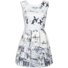 Choies White Butterfly Print Embroidery Sleeveless Ruched Dress