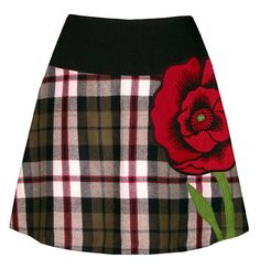 plaid poppy skirt - with bright red screen printed poppy applique by madewithlovebyhannah on Etsy https://www.etsy.com/listing/86656534/plaid-poppy-skirt-with-bright-red-screen