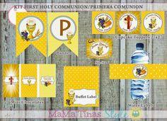 Kit imprimible etiquetas Primera Comunión