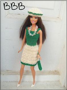 Crochet Barbie Clothes Outfit Green by BarbieBoutiqueBasics