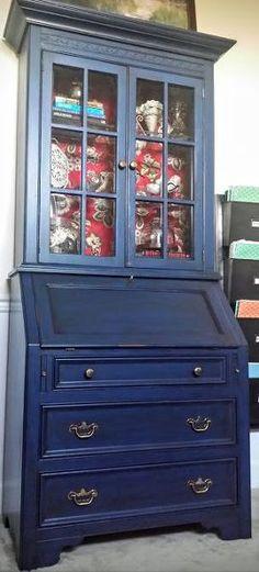 diy secretary makeover with napoleonic blue chalk paint glaze, chalk paint, decoupage, painted furniture, A S Napoleonic Blue Chalk Paint Java Glaze