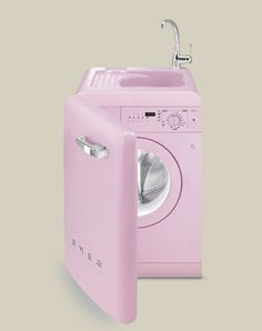 The washing machine of my dreams! is part of Pink kitchen appliances - Pink Love, Pretty In Pink, Pink Kitchen Appliances, Pink Kitchens, Smeg Fridge, Kitchenette, Home Gadgets, Pink Houses, Barbie Dream
