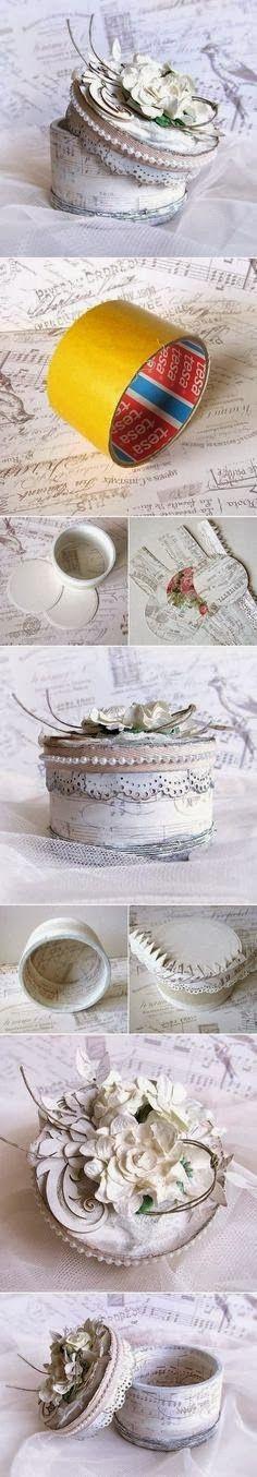 * Decoração e Invenção *: Rolo de fita adesiva vazio = Lindo porta jóias
