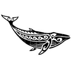 Tribal Humpback Whale - Black - Pool Mosaic