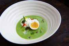 Chilled Pea Soup With Parmesan Cream and Soft-Boiled Gulls's Egg  Chilled-pea-soup-with-parmesan-cream-and-soft-boiled-Gull's egg ..