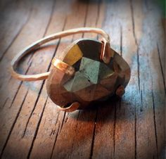 Rose Cut Pyrite Ring by sweetBella on Etsy, $72.00