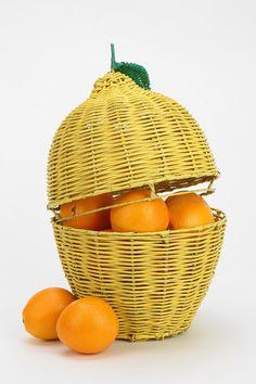 Plum & Bow Lemon Wicker Storage Bin - Urban Outfitters