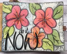 ALBOTAT:  Do It Now journal spread.. in small Dylusions journal.. using Faber-Castel Polychromos pencils and Posca pens