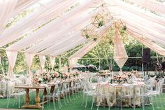 Contemporary Tented Wedding In Blush Palette Accented With Metallics ~ love the ghost chairs and geometric forms hanging from the tent ceiling so very contemporary