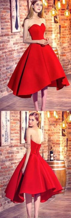 Sweetheart Prom Dress, High Low Evening Dresses, Stain Prom Dress,Cheap Prom Dress,Red Prom Dresses, Low Back Party Dresses, Satin Formal Dresses
