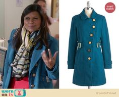 Mindy's blue coat with red/black/white colorblock skirt and green scarf on The Mindy Project.  Outfit details: http://wornontv.net/13584/