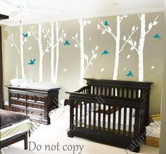 white birch Tree Decals nursery decals Kids wall decals baby decal  room decor wall decor wall art birch decals-birds in Birch forest 100in, $89.00