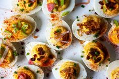deviled eggs – smitten kitchen Summer Recipes, New Recipes, Favorite Recipes, Vegetarian Recipes, Oven Risotto, Goat Cheese Pizza, Frozen Watermelon, Fingerfood Party, Fennel Salad