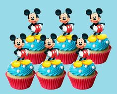 extra large mickey mouse EDIBLE wafer cupcake cake toppers STAND UP XL 7cms high #Unbranded #Birthday