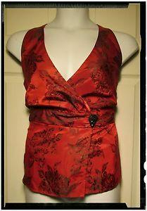 Sz-18-W-Lane-Bryant-Sleeveless-Red-Black-Floral-Print-Top-NWT