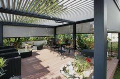 lamellen überdachung-terrasse integriertes Ablaufsystem-ermöglicht Rückgewinnung von Regenwasser