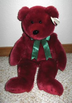 "RARE Ty Cranberry Teddy the Beanie Baby Original Buddy Plush Bear Large 13"" 1998 #Ty"