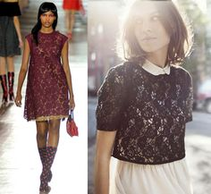 encaje en contraste Lace Skirt, Red Carpet, Paradise, Trends, Skirts, Fashion, Lace, Moda, Skirt