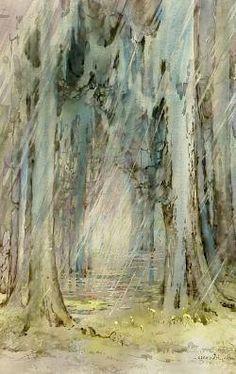 watercolor & gouache swamp scene by Alice Ravenel Huger Smith;