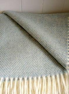 Woollen Blanket - Pale Sage Green Herringbone
