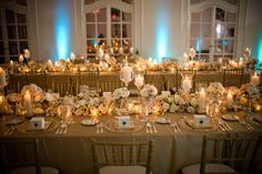 Beautiful gold and blush table scape