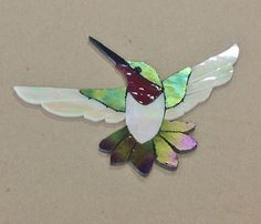 """Precut Stained Glass Art Male Hummingbird Mosaic Inlay Hand Crafted 5 75"""" x 4 5"""" 