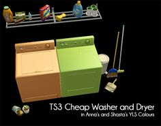 GoS February Theme - The Domestic God(dess): TS3 Cheap Washer and Dryer in Anna's and Shasta's YLS Colours by YanderePlum