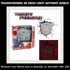 ●● Transformers 3D Deco Light Autobot Shield ●● NEW IN BOX - Released Dec 2014