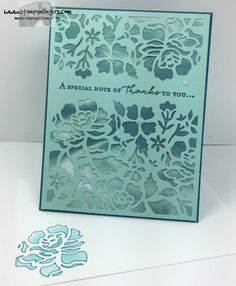 Stamps-N-Lingers.  Detailed Florals Thinlits and Floral Phrases stamp set.  Serene Scenery DSP under die cut. https://stampsnlingers.com/2016/06/20/stampin-up-detailed-floral-phrases-thanks/