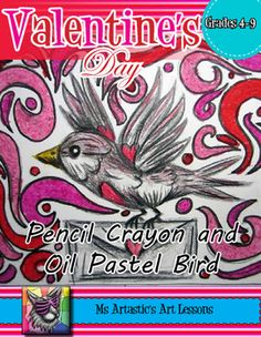 Create a Valentine's Day Bird with Love Letter art piece using Pencil Crayon and Oil Pastel. Your students will really love this! This product is complete with a visual and text step-by-step (each step on its own page with description), a rubric for marking, a heart tracing sheet, and a step-by-step how to draw the bird to allow your students to create this piece successfully!All art lessons are original ideas by Ms Artastic.
