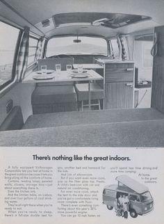 1972 VW Campmobile Camper Van Ad Volkswagen Great Indoors Vintage Advertisement Automobile Photo Print Wall Art Decor