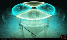 Acrylic iluminated table and chairs. Tron-like :)