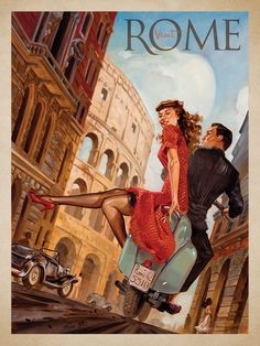 Vespa - Italia This series of romantic travel art is made from original oil paintings by artist Kai Carpenter. Styled in an Art Deco flair, this adventurous scene is sure to bring a smile and maybe even a smooch to any classic poster art lover!