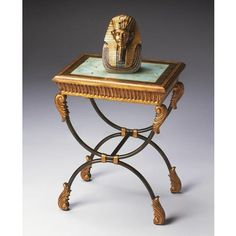 Side Table - Heritage - 2162070. Side Table - Heritage - 2162070 This classically designed side table features a reverse painted glass top in an antique motif. The gold hand painted finish on the wood famed top and apron offer an interesting contrast for a g.. . See More Side Tables at http://www.ourgreatshop.com/Side-Tables-C689.aspx