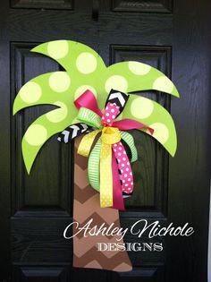 Wooden Palm Tree Door Hanger Door by DesignsAshleyNichole on Etsy, $50.00