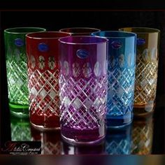Internet shopping exclusive water goblets Bohemia: with gold and stucco with glass, with engraved rim of colored crystal, different colors. All glasses have a volume of 350 ml and a height of 16 cm, as well as a heavy bottom and crystal Shine. Bohemia Crystal, Bohemia Glass, Cut Glass, Glass Art, Vase Cristal, Bone China Dinnerware, Crystal Glassware, Crystal Gifts, Glass Containers